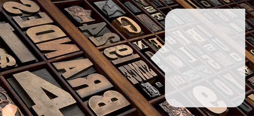 Assorted wood letters for wood type printing
